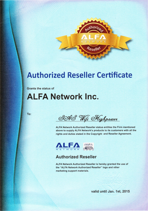 Revendeur officiel Alfa Network